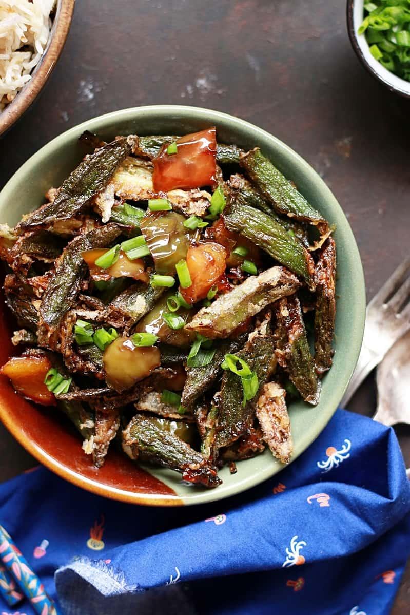 Chilli garlic okra recipe