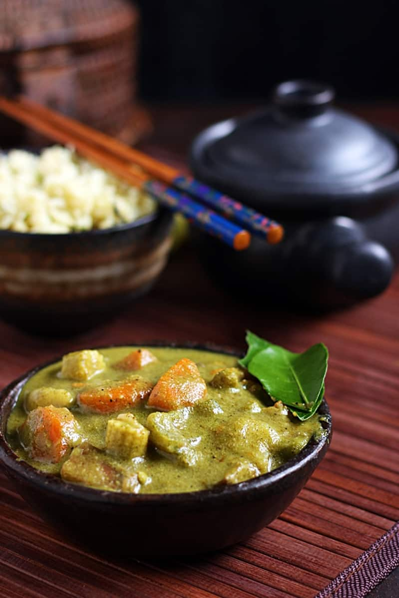 vegan green thai curry served with rice