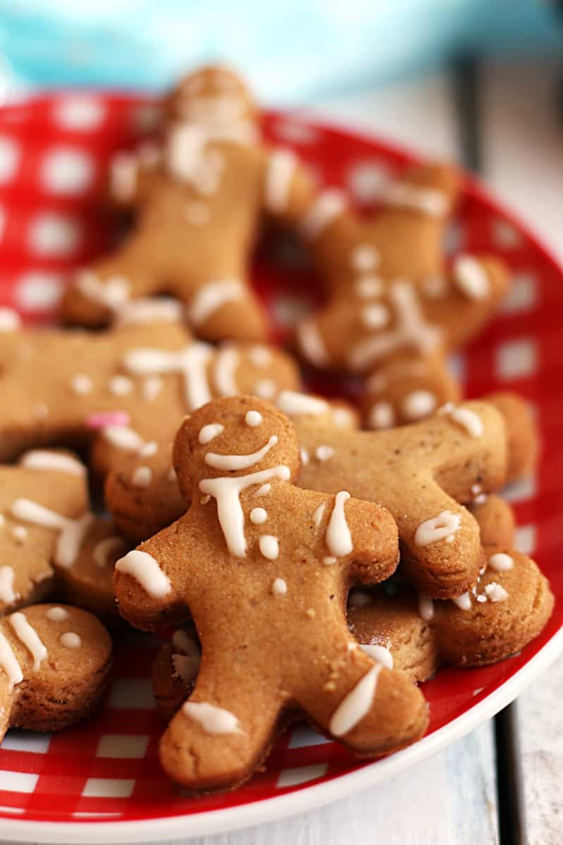 eggless gingerbread man cookies with eggless royal icing.