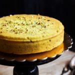 easy eggless parsi mawa cake served in a cake board
