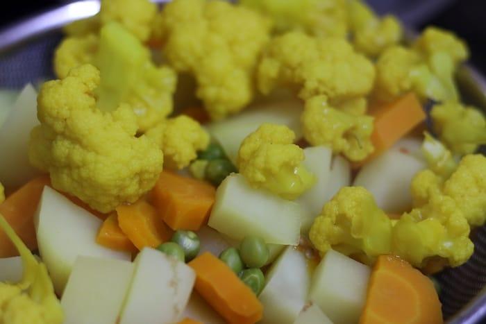 steamed vegetables for making pav bhaji