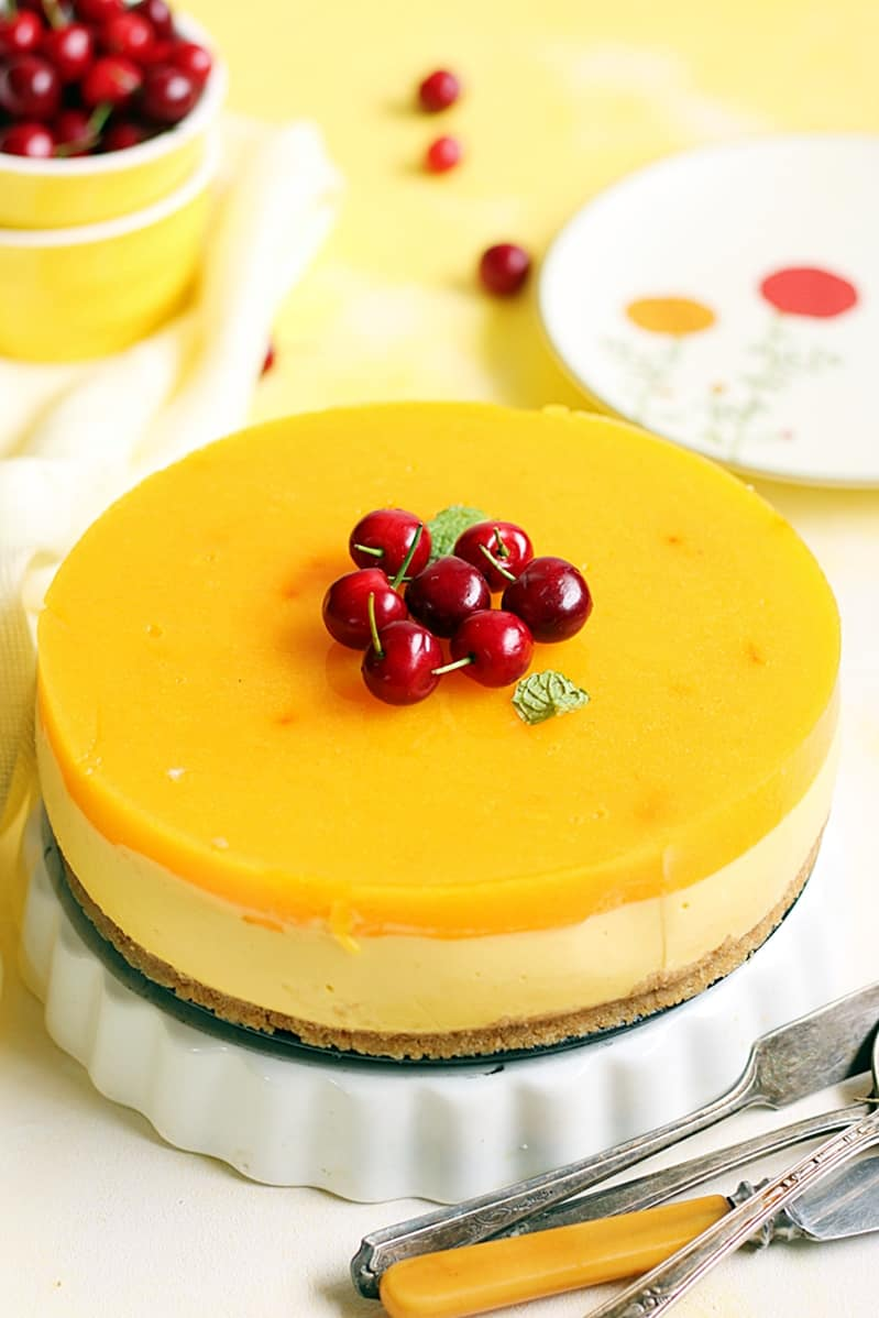 eggless mango cheesecake no bake