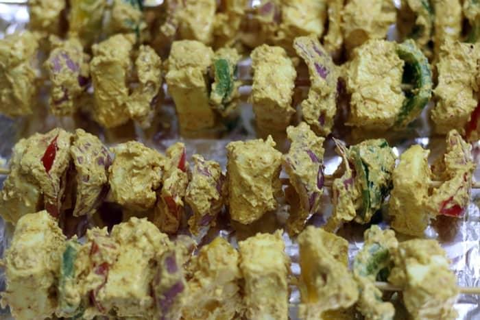 skewered paneer and veggies for paneer tikka recipe