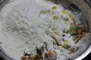 making dough for masala akki roti