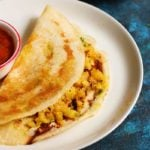 restaurant style masala dosa served with