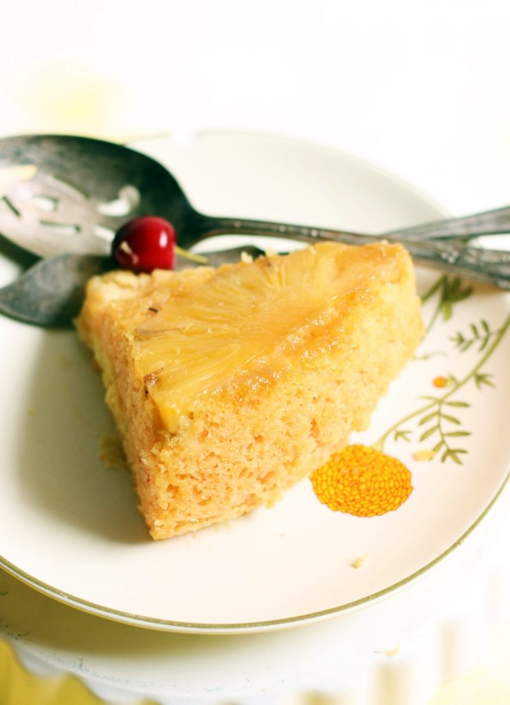 eggless pineapple upside down cake slice