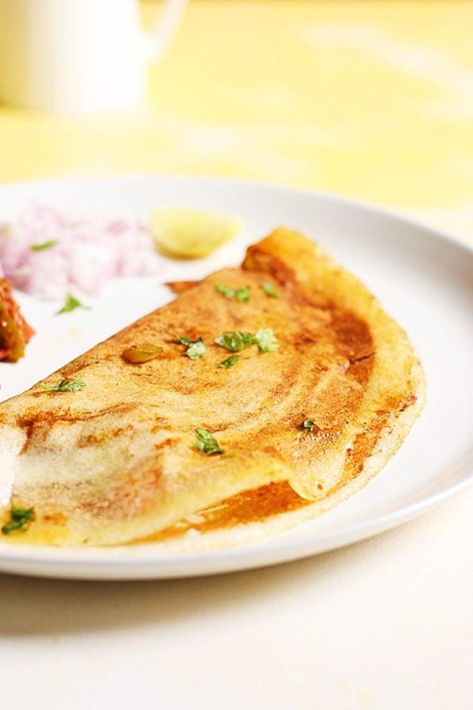 Closeup shot of crispy golden pav bhaji dosa