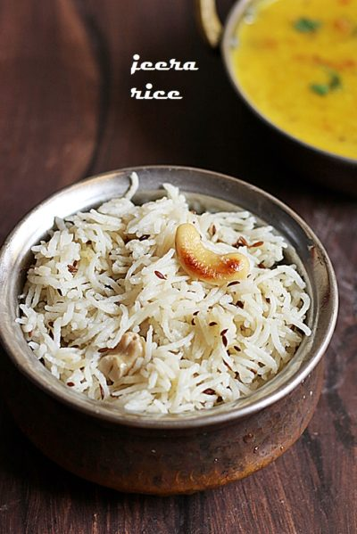 jeera rice recipe- Fluffy and flavorful jeera rice served with Indian dal fry