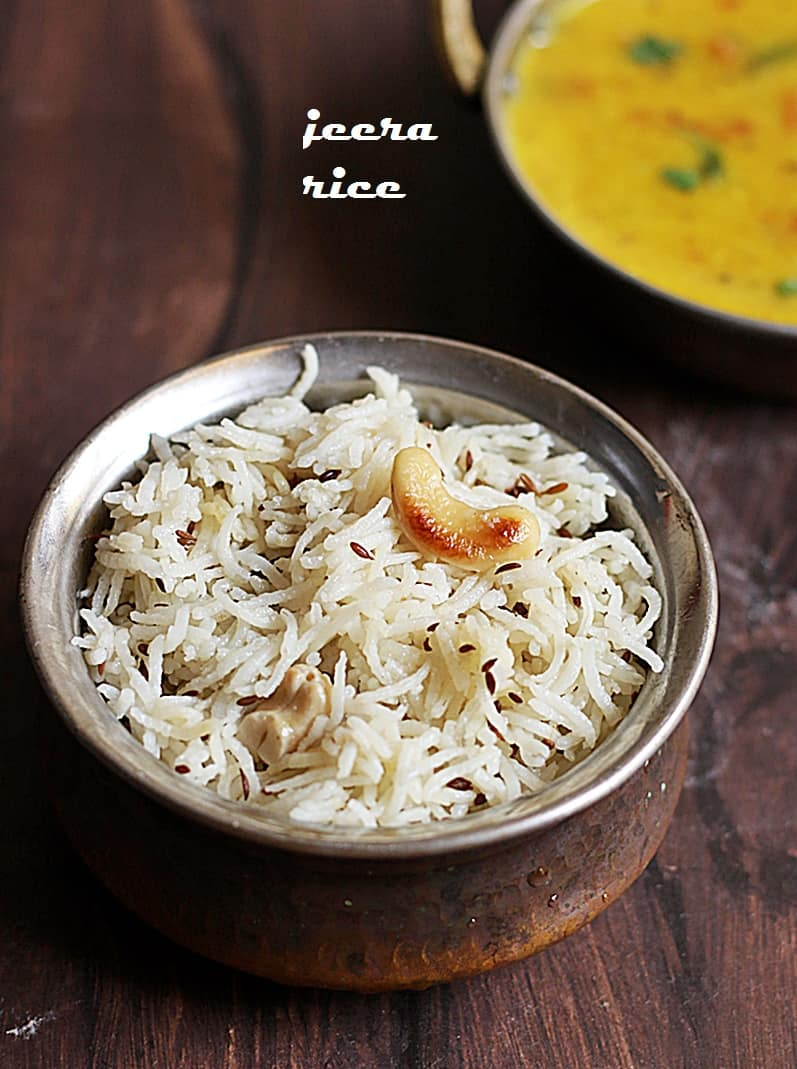 Fluffy and flavorful jeera rice served with Indian dal fry