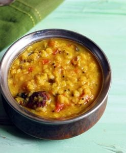 Chana dal served in a copper pan