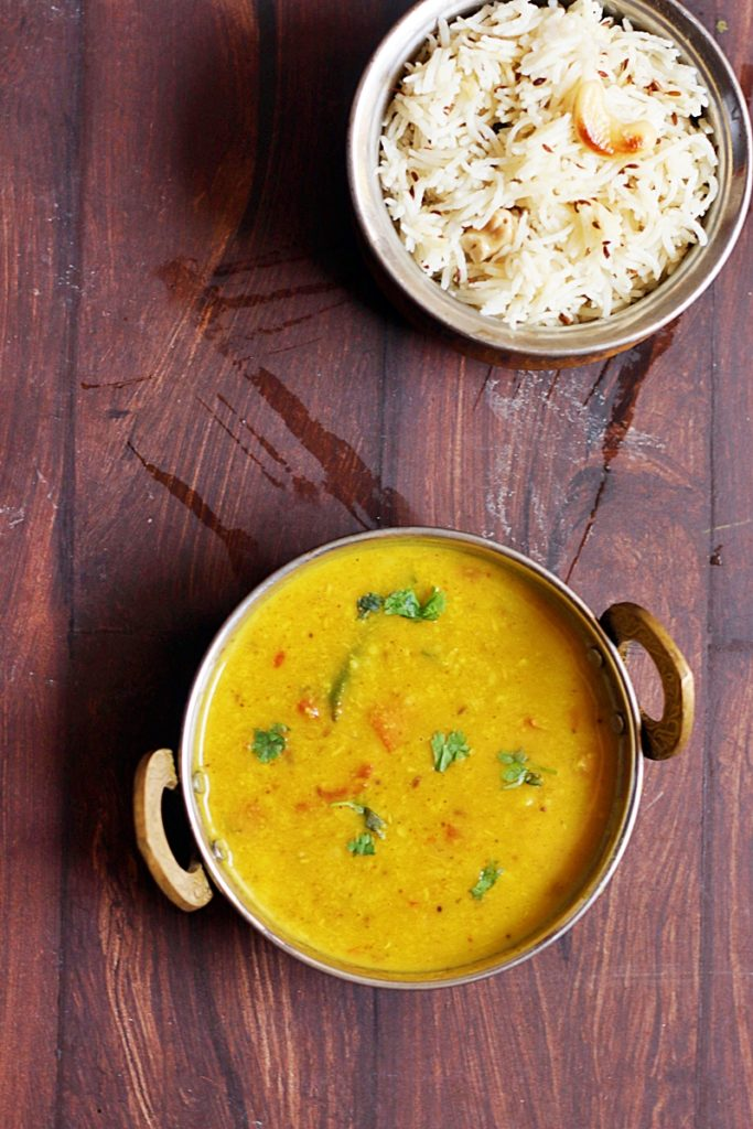moong dal fry served with jeera rice