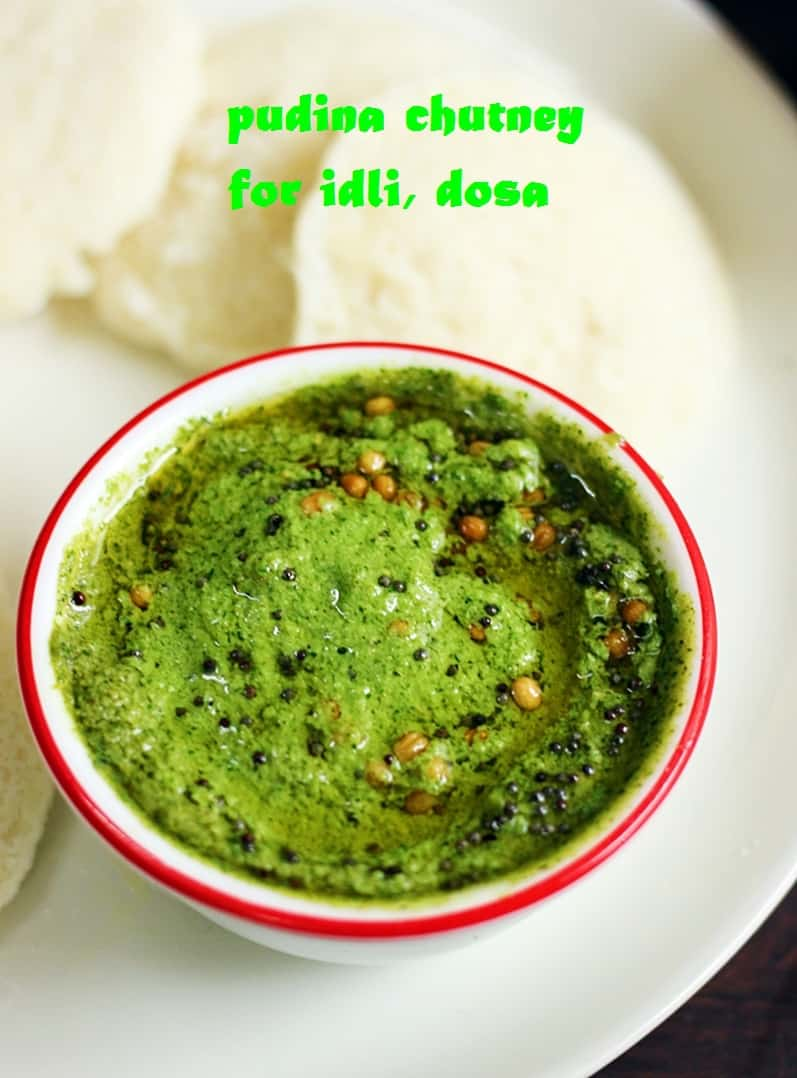 pudina chutney recipe for idli, dosa | coconut mint chutney