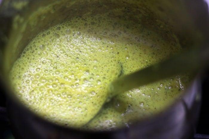 simmering golden turmeric milk
