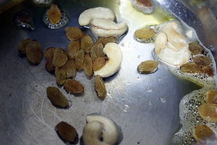 frying cashews and raisins in ghee