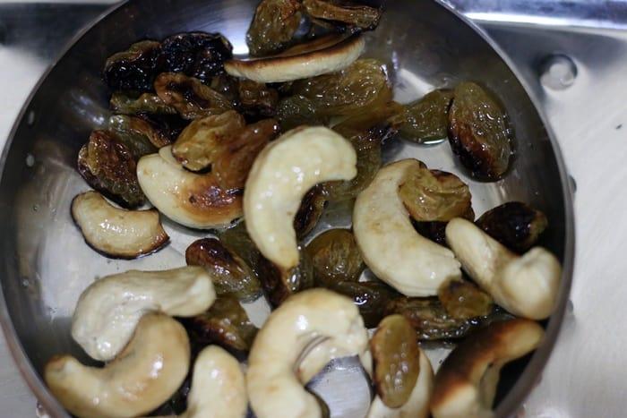fried raisins and cashews for garnishing ghee rice.