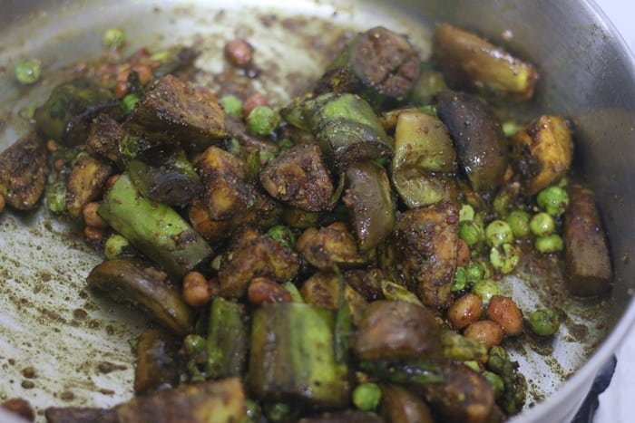 cooked eggplant for brinjal rice
