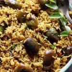 closeup shot of vangi bath brinjal rice