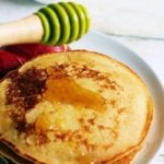 eggless pancake served with honey for breakfast