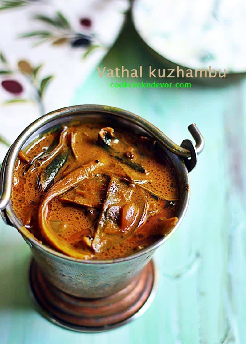 Vathal kuzhambu with sun dried vegetables