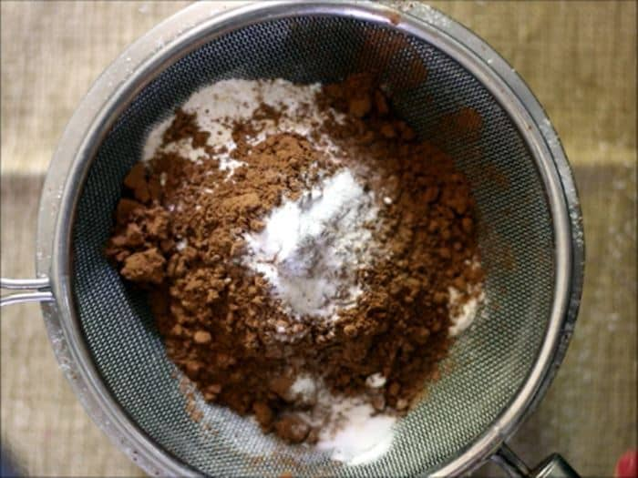 dry ingredients for eggless chocolate cake