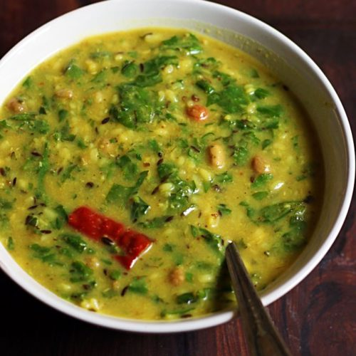dal palak recipe with detailed video and step by step photos.