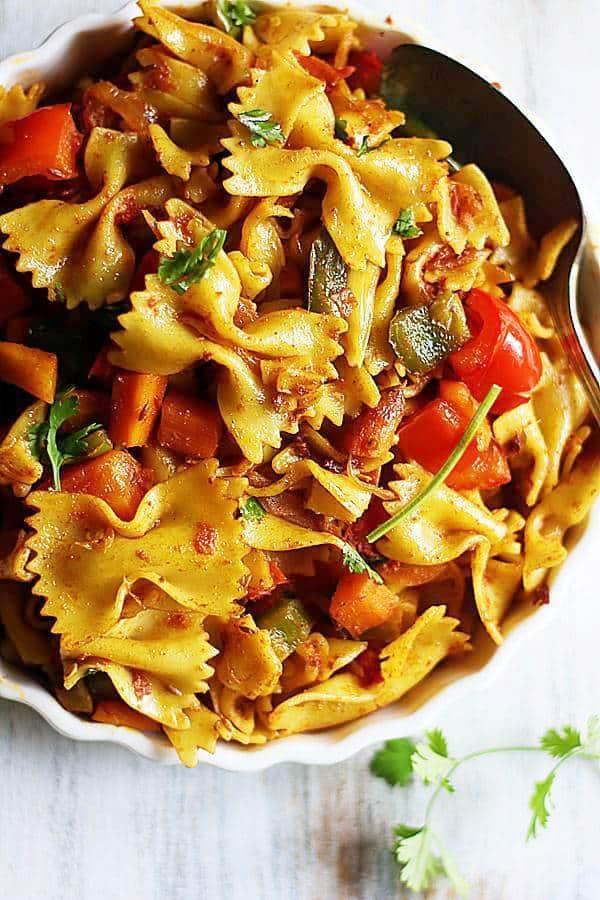 coseup shot of Indian masala pasta