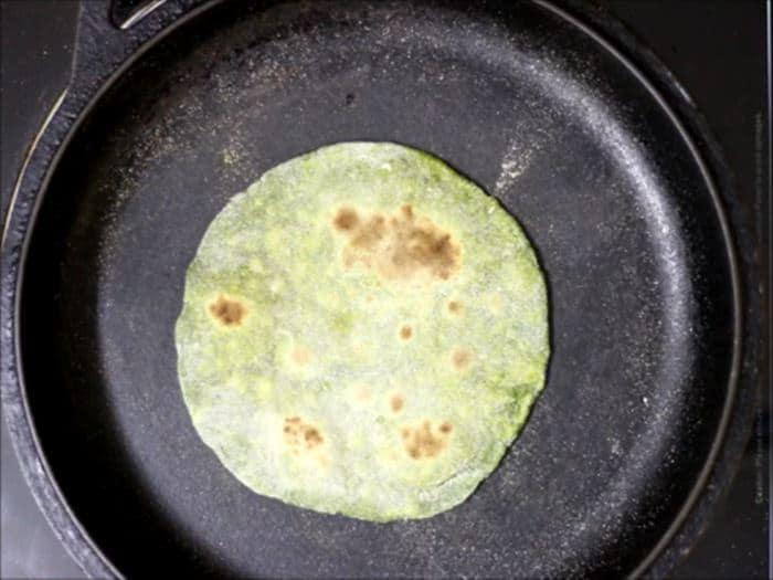 making of palak paratha recipe