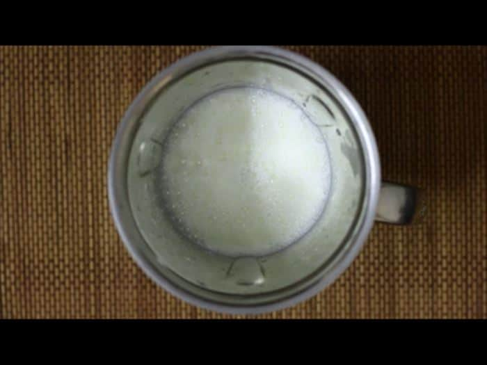Making vanilla milkshake recipe- boiled and chilled milk