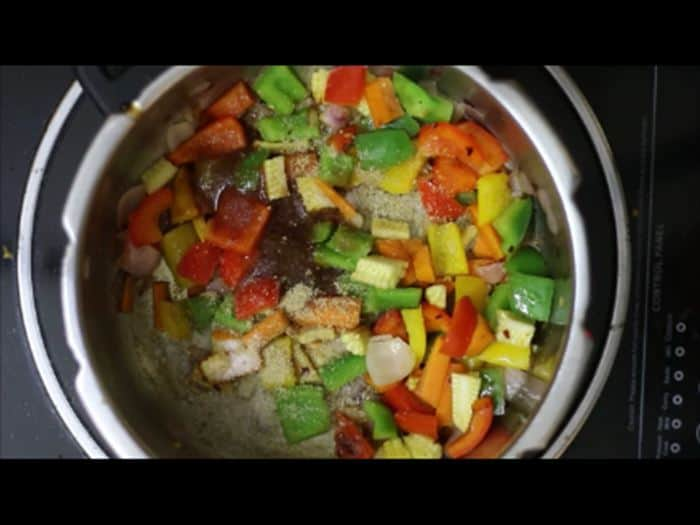 vegetables sauteed for vegetable pasta recipe, veg pasta recipe
