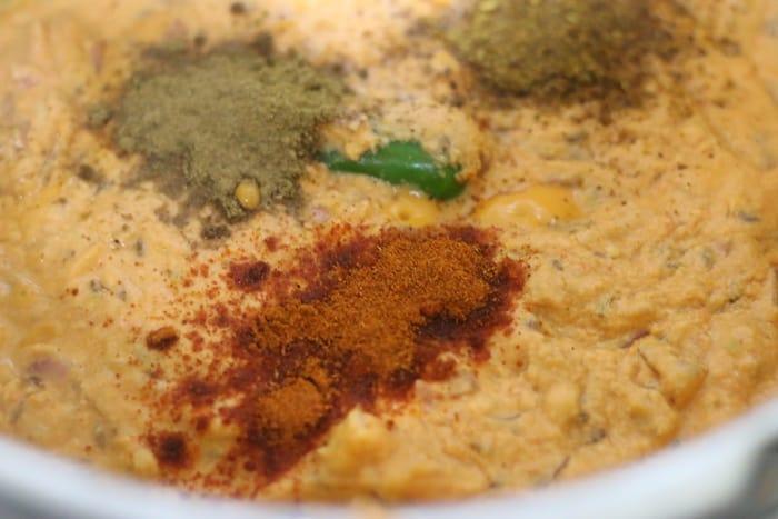 spice powders added for matar masala recipe