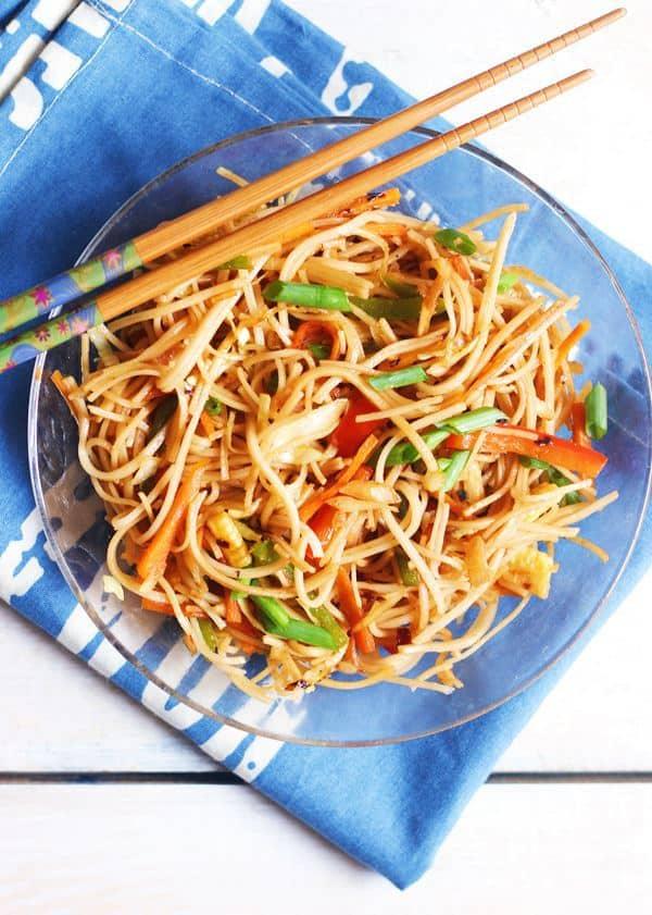 veg chow mein recipe- vegetarian chow mein noodles
