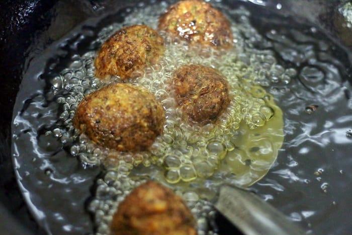 deep frying veg balls