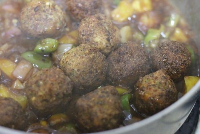 veg balls tossed in manchurian gravy