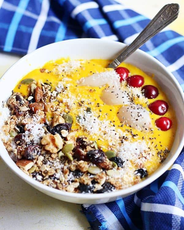 Closeup shot of Mango smoothie bowl recipe