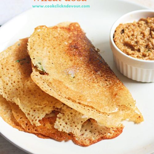 Wheat dosa recipe is an easy and instant no grind dosa with wheat flour.
