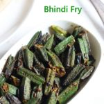 Bhindi fry recipe served with rice or roti