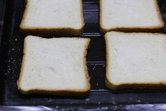 toasting bread slices for pizza toast