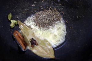 sauteing cumin seeds in ghee