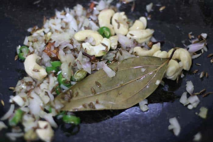 sauteing onions in ghee for jeera rice