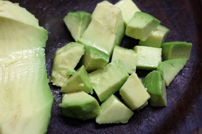 cubed avocados for avocado salad recipe
