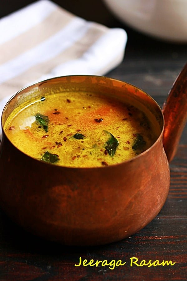 closeup shot of jeera rasam, how to make jeeraga rasam recipe