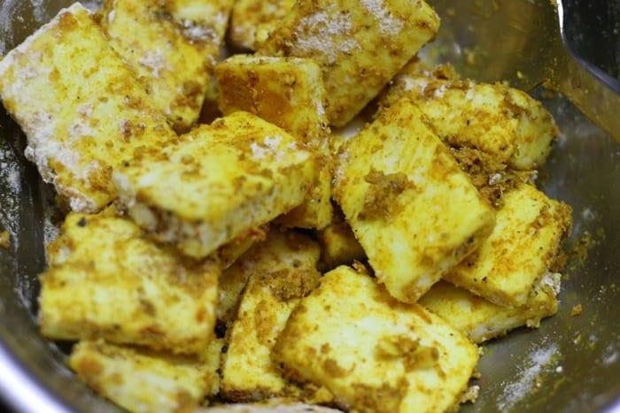 marinated paneer cubes