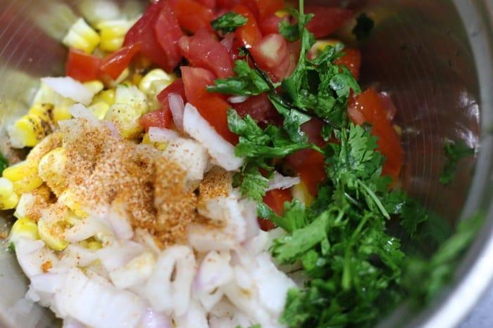 ingredients for making roasted corn salad recipe