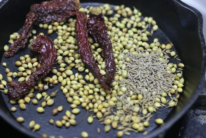 roasting spices for making kadai masala