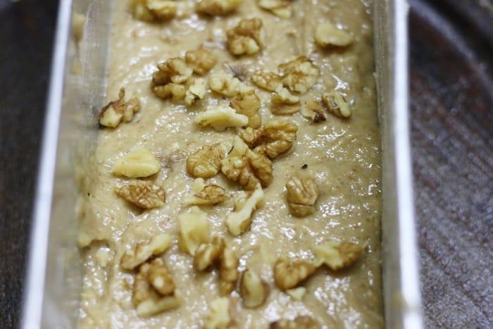 banana bread ready to bake