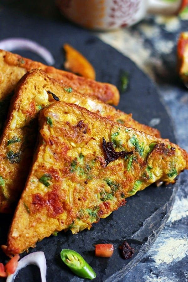 Closeup shot of savory vegan french toast