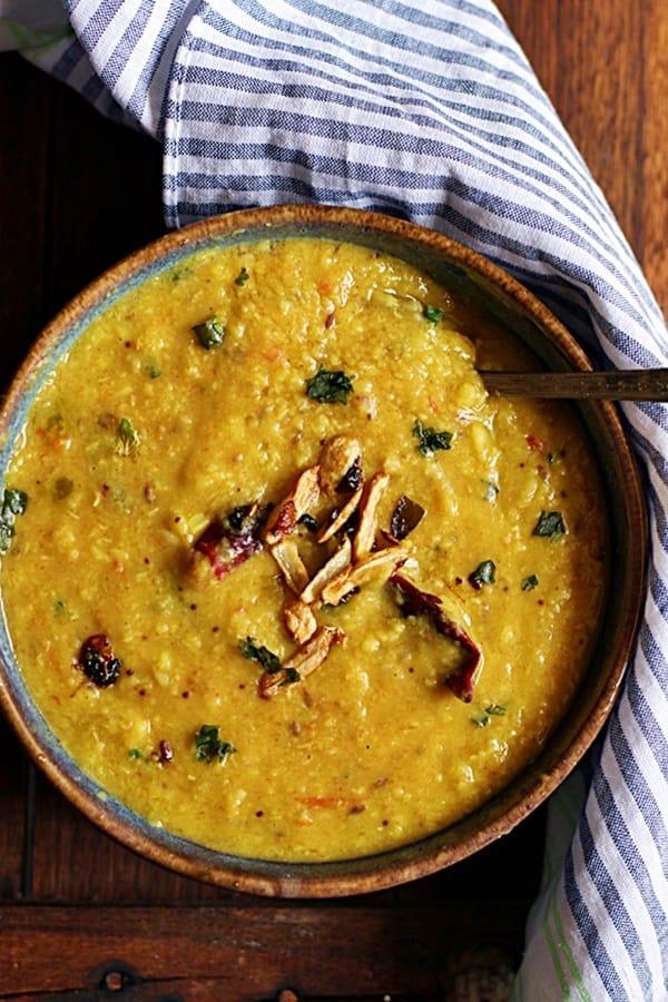Lasooni dal or garlic flavored lentils- closeup shot