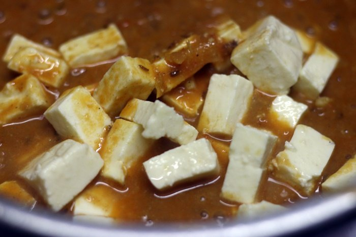 Paneer Indian cottage cheese added