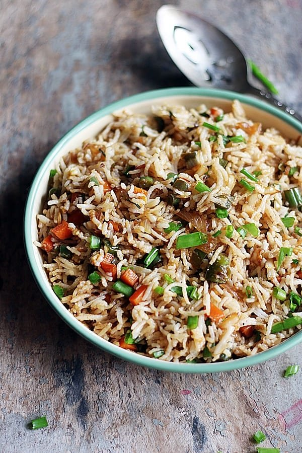 best fried rice served with a spoon