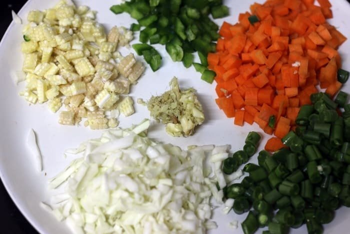 chopped vegetables for making fried rice